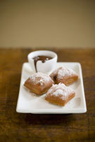 Banana Coconut Beignets with Chocolate Ganache Sauce