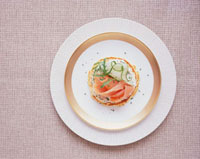 Pancake topped with chive spread,smoked salmon & cucumber