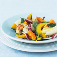 Autumn salad with baked pumpkin