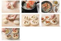 Making sfincione di Caltanisetta (small cheese pizzas)