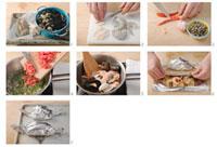 Making linguine al cartoccio (linguine with seafood)