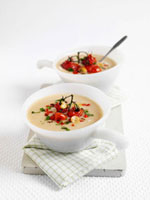 Cream of bean soup with cocktail tomatoes