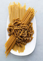 Various types of wholemeal pasta