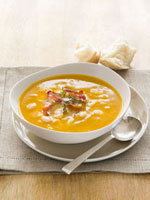 Cream of pumpkin soup with cannellini beans