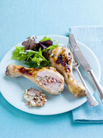 Chicken legs with macadamia nut stuffing