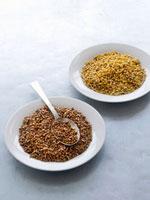 Buckwheat and barley on two plates