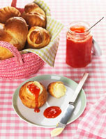 Brioche with butter and strawberry & rhubarb jam