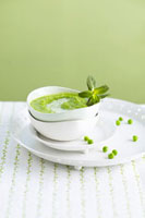 Cream of pea soup with ice