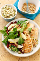 Fried chicken breast with pear and sprout salad