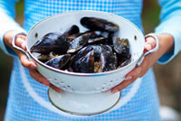 Woman holding mussels in colander
