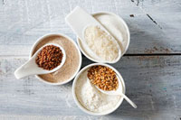 Flour and grains of rice,buckwheat and wheat