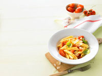 Penne rigate with tomatoes,Parmesan and basil