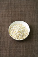 Pearl barley in a paper dish