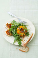 Rocket salad with grilled halloumi and peach