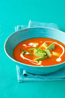 Spicy tomato soup with avocado