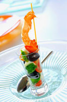 Tomato & mozzarella verrine with olives,basil & Iberian ha 22199056635| 写真素材・ストックフォト・画像・イラスト素材|アマナイメージズ