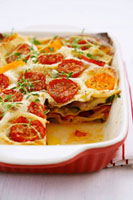 Lasagne with courgettes,peppers,tomatoes and thyme