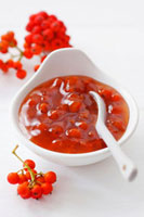 Rowanberry jam in a small dish