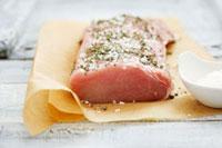 Loin of pork seasoned with salt and marjoram