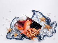 Still life with fish,seafood and fishing net
