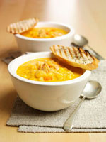 Chicken and sweetcorn soup with grilled bread