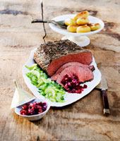 Roast beef with cucumber salad,salsa and potatoes