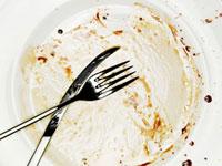 A used salad plate