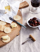 Cheese,wafers,olives and wine