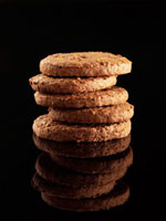 Tower of chocolate biscuits