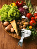 Vegetables,eggs,cheese and nuts in basket