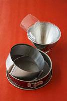 Cake tin,cake ring and mixing bowl