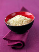 Basmati rice in lacquer bowl