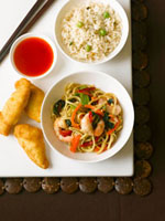 Noodles with prawns,rice and peas and sauce (China)