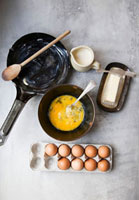 Ingredients and Tools for Scrambled Eggs