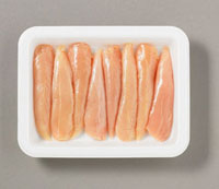 Several chicken breast fillets on plastic tray
