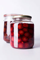 Cherry compote in two jars