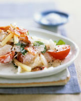 Salad of smoked fish,cheese,tomatoes and bacon
