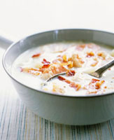 Cream soup with shrimps,prawns and bacon