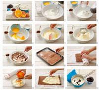 Making chocolate sponge roll with orange cream