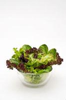 Various lettuce leaves in glass bowl