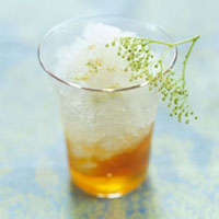 Elderflower sorbet with elderflower honey