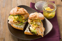 Turkey breast and fruity potato salad in a sandwich