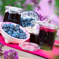 Blueberry jam and fresh blueberries