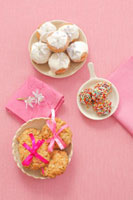 Oat biscuits,chocolate truffles with sprinkles,mini-cupc