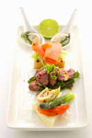 Appetiser platter with meat,fish and vegetables
