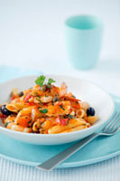 Penne with tomato sauce and king prawns