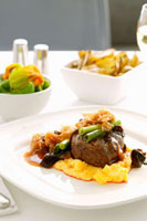 Beef fillet on mashed potato and pumpkin