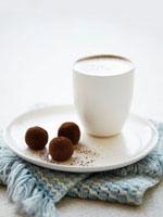 Caffe latte and chocolate truffles