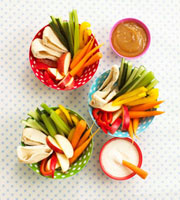 Crudites with dips (overhead view)
