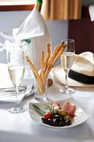 Antipasti with sparkling wine